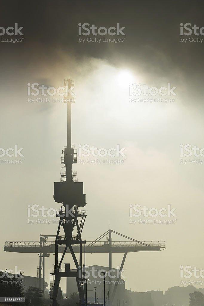 Port and Goliath Cran in the Sunrise stock photo