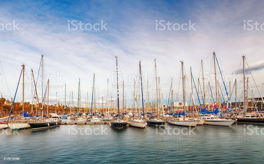 Port and quay in Barcelona, Port Vell, Spain, Catalonia stock photo