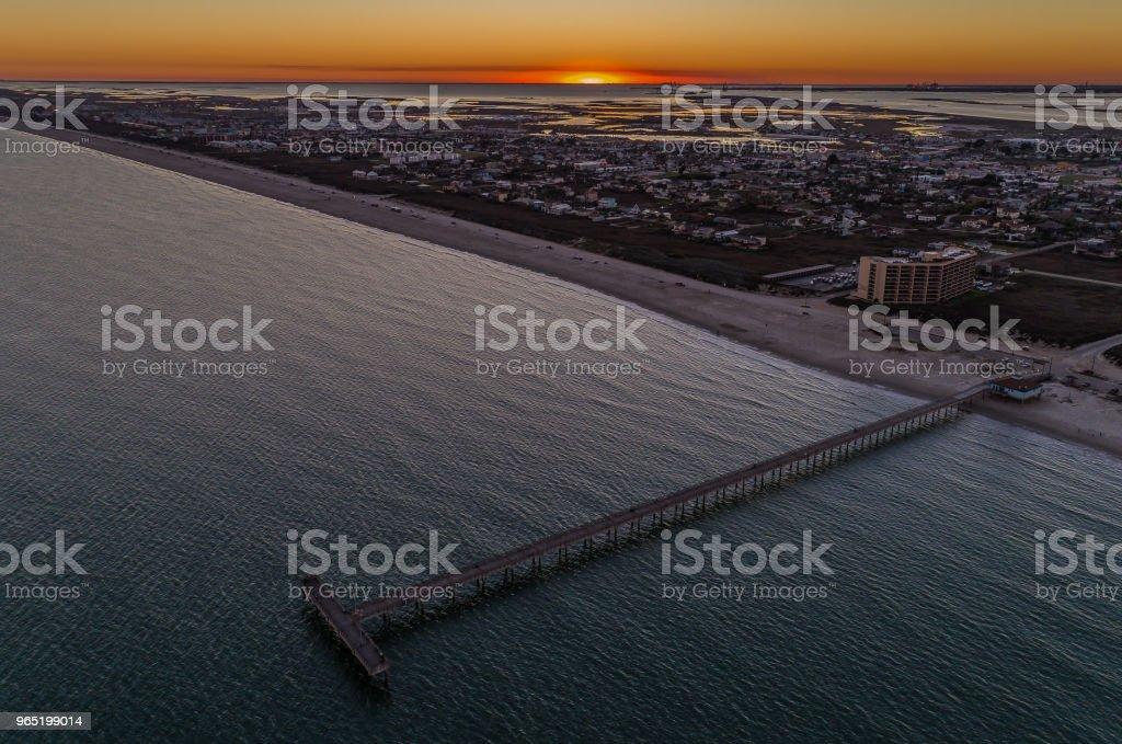 Port Aransas, Texas Sunset From Above royalty-free stock photo