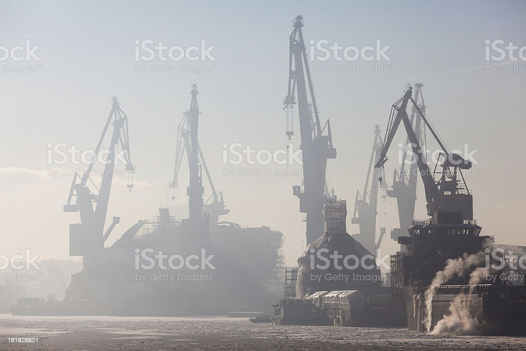 Port at morning stock photo