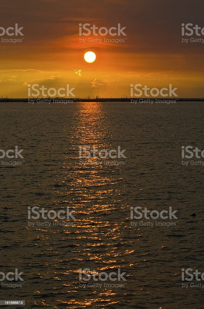 Port at Sunset royalty-free stock photo
