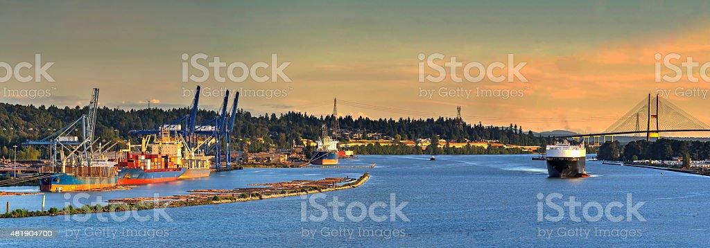 Port at sunset stock photo