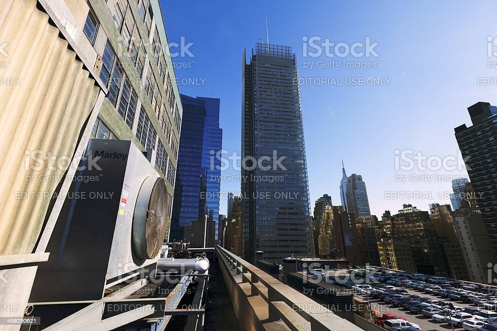 Port Authority Rooftop Parking and Skyscrapers Manhattan New York HVAC royalty-free stock photo