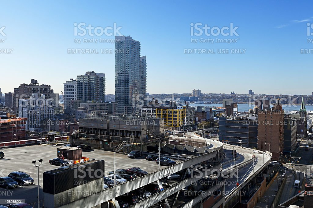 Port Authority Terminal Rooftop Parking and Skyscrapers Manhattan New York stock photo
