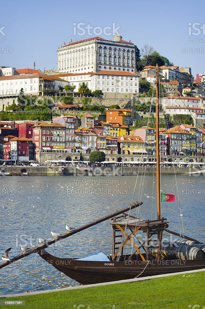 Port Barrels and Seagulls in Porto royalty-free stock photo
