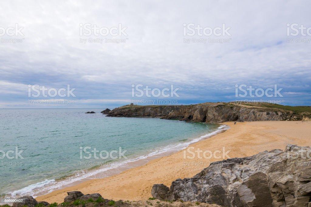 Port Blanc arch and Percho Point, Peninsula of Quiberon,France, Britanny, Europe Lizenzfreies stock-foto