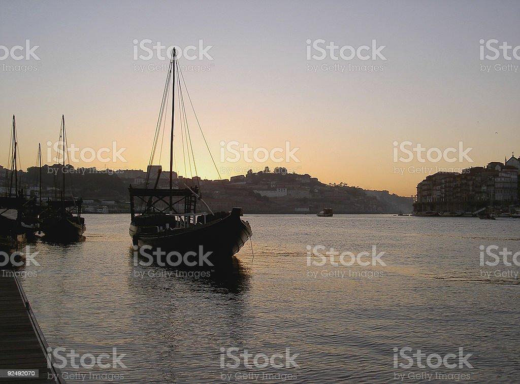 Port Boats at Sunset royalty-free stock photo
