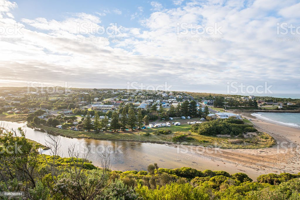 Port Campbell town the coastal town in Victoria, Australia. stock photo