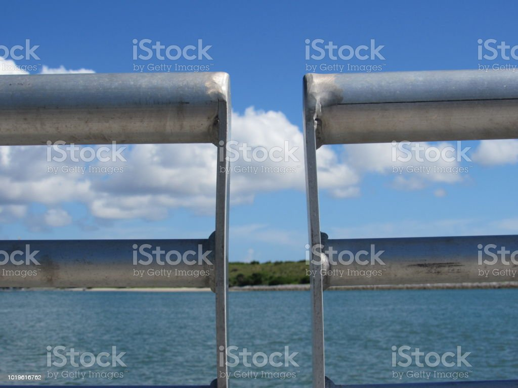 Port Canaveral Through Railing stock photo