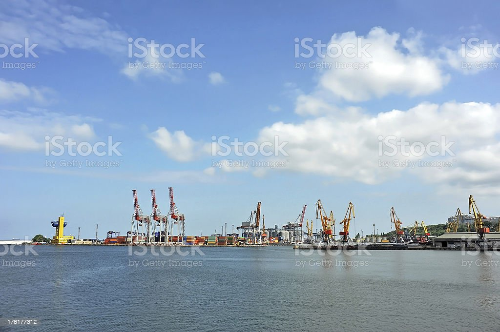 Port cargo crane and container royalty-free stock photo