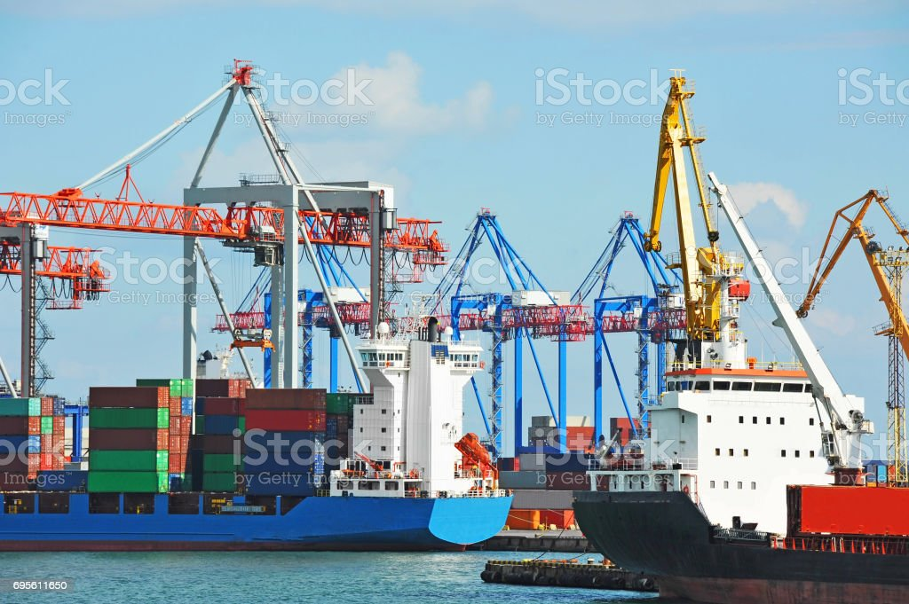 Port cargo crane, ship and container stock photo