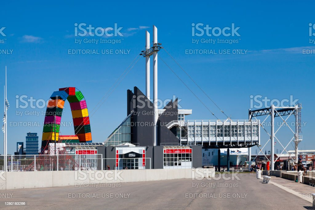 Port Center of Le Havre Le Havre, France - August 05 2020: The Port Center is a place of education, interpretation and meetings allowing all audiences to discover the port and industrial environment in all its diversity. Architecture Stock Photo