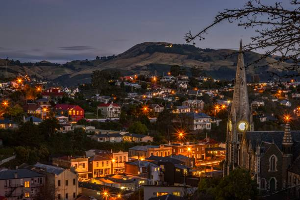 Port Chalmers at night, Dunedin Otago New Zealand stock photo