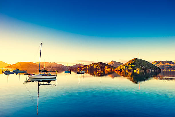 Port Chalmers at Otago peninsula, New Zealand. stock photo
