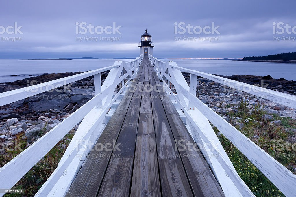 Port Clyde - Marshall Point Lighthouse at dusk, Maine, USA royalty-free stock photo