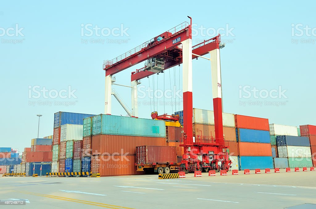 Port container yard stock photo
