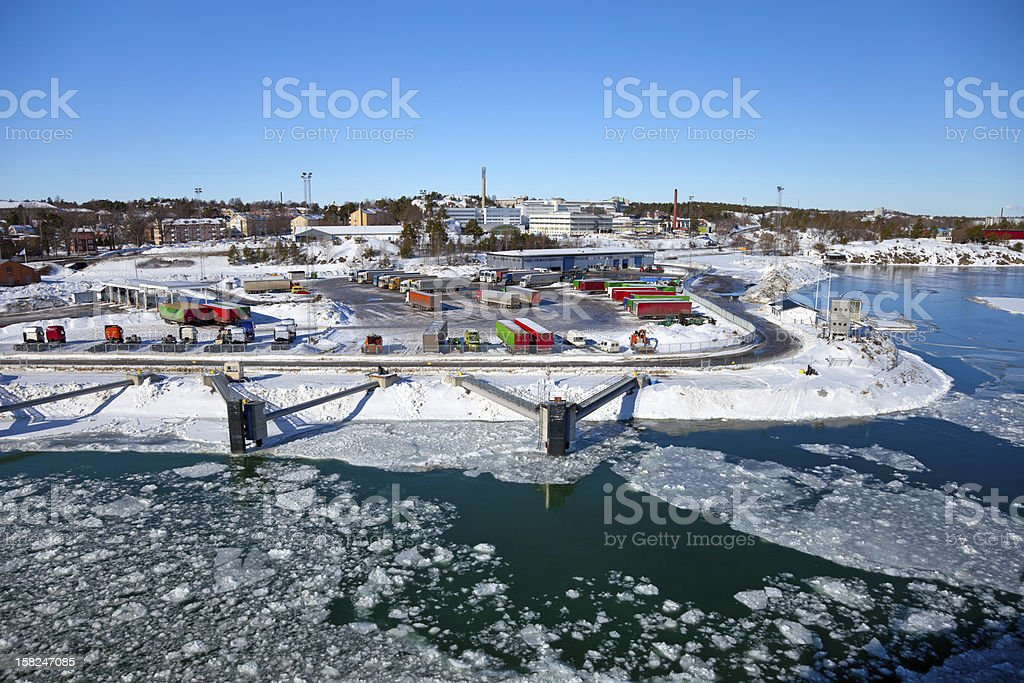 Port covered with ice royalty-free stock photo