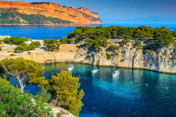 Calanques de port pin Bay in Cassis near Marseille, France stock photo