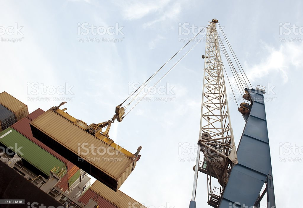 Port crane and containers royalty-free stock photo