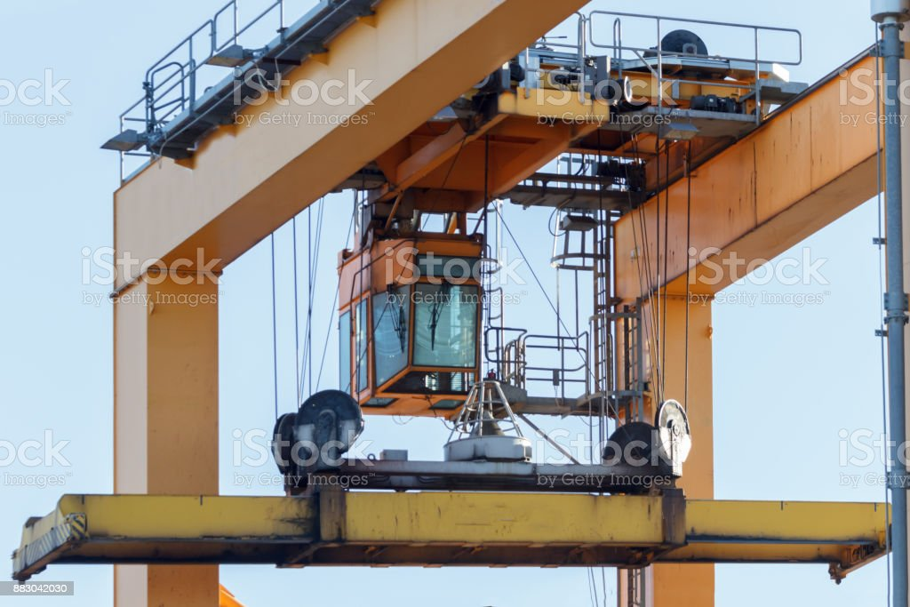 port crane cabin stock photo
