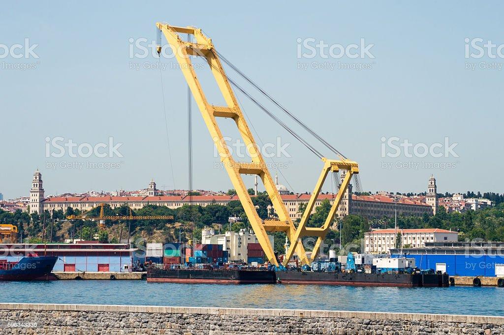 Port Crane in Haydarpasa Port royalty-free stock photo