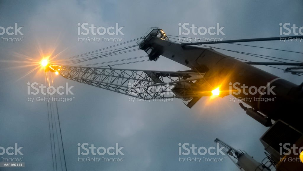 Port cranes against the sky. Cargo industrial port foto de stock royalty-free