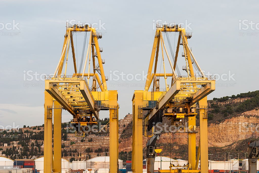 Port cranes stock photo