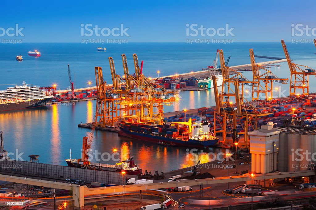 Port de Barcelona in night stock photo