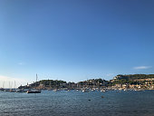 Bay view of Port de Soller on the balearic island of Majorca (Mallorca), Spain against blue sky