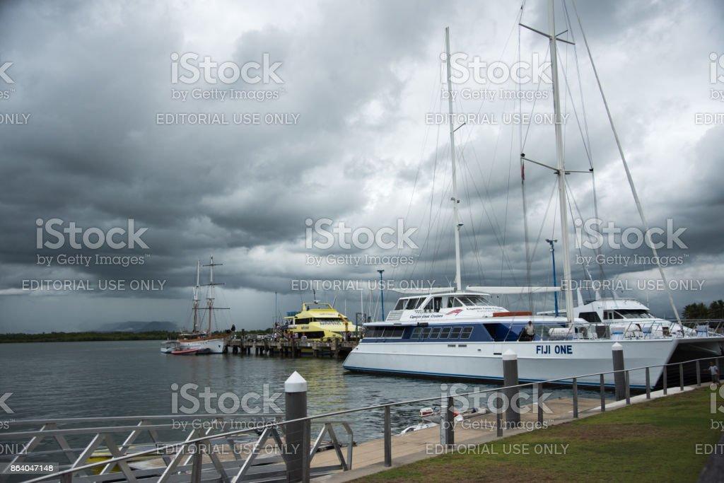 Port Denarau in the Storm stock photo