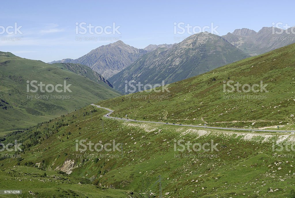 Port d'Envalira (Pyrenees) Summer landscape between France and Andorra royalty-free stock photo