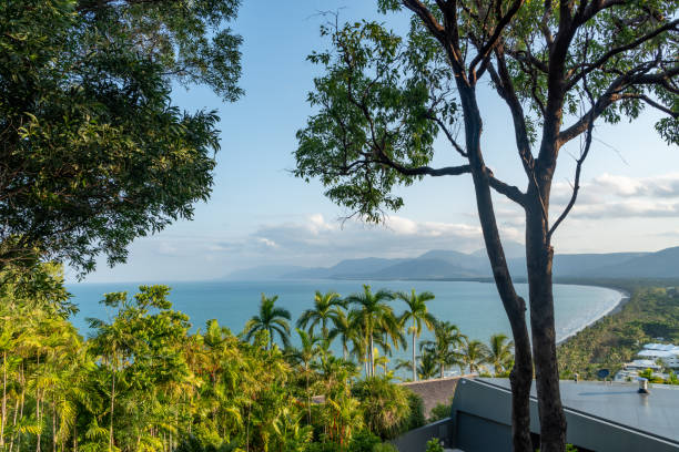 port douglas beach and ocean on sunny day, queensland, australia - great barrier reef marine park stock pictures, royalty-free photos & images
