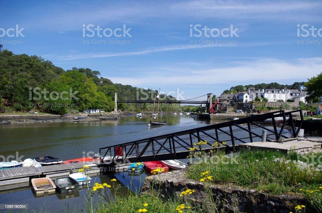 Port du Bono, suspension bridge and landing stage stock photo