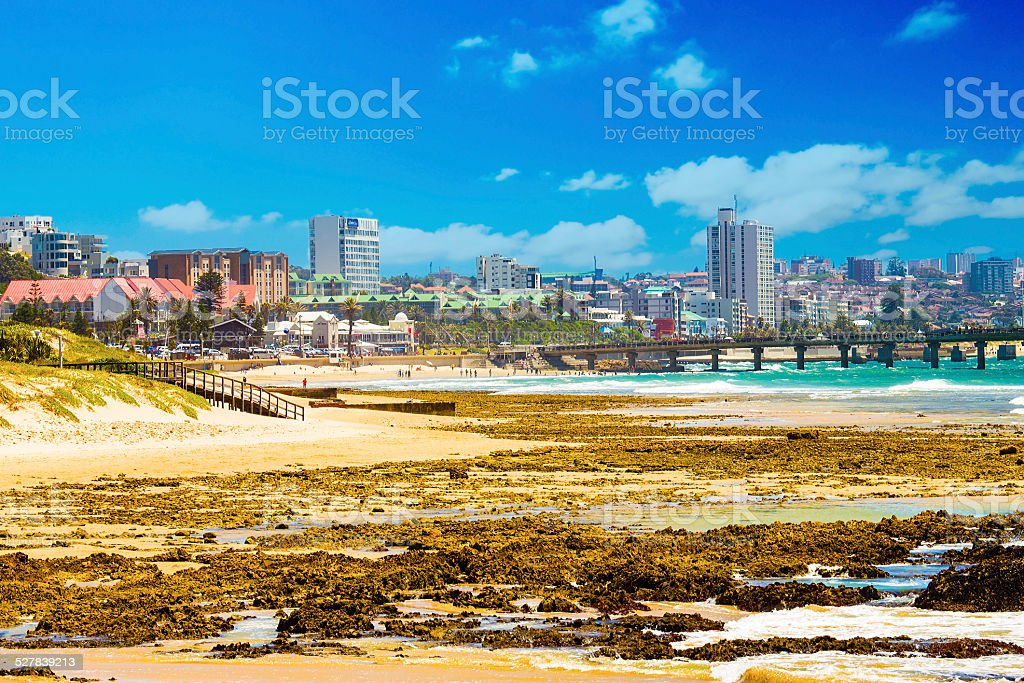 Port Elizabeth cityscape from the beach stock photo