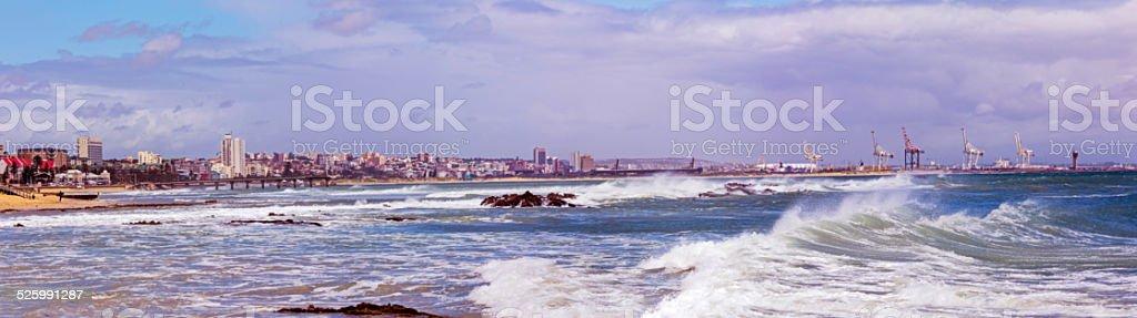 Port Elizabeth panorama, windy city stock photo