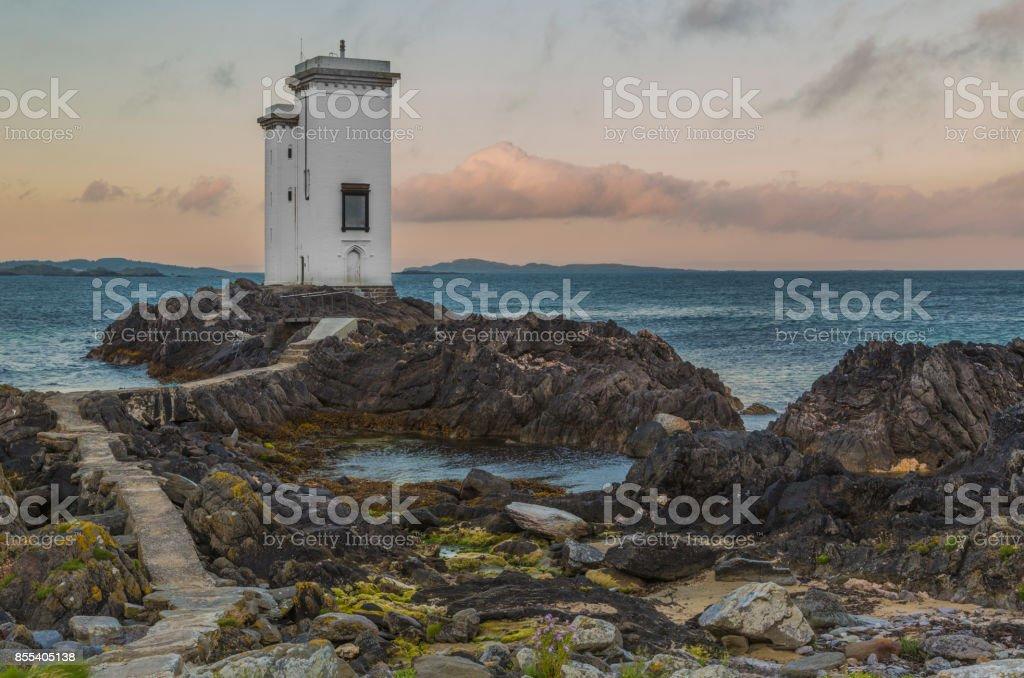 Port Ellen Lighthouse, Carraig Fhada Lighthouse, Port Ellen, Islay, Scotland stock photo