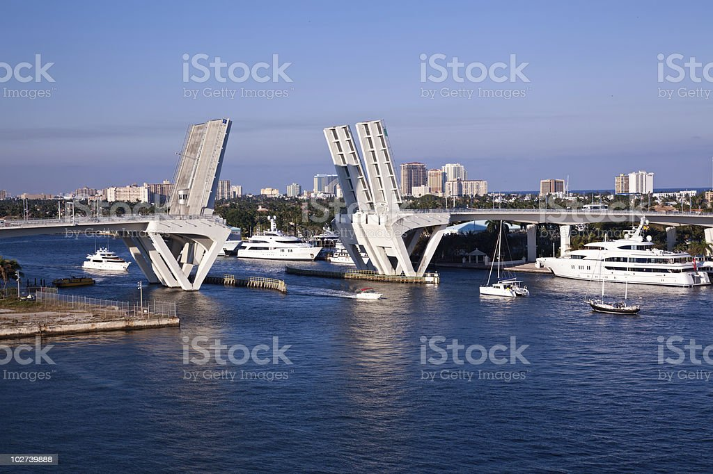 Port Everglades, Fort Lauderdale Bridge stock photo
