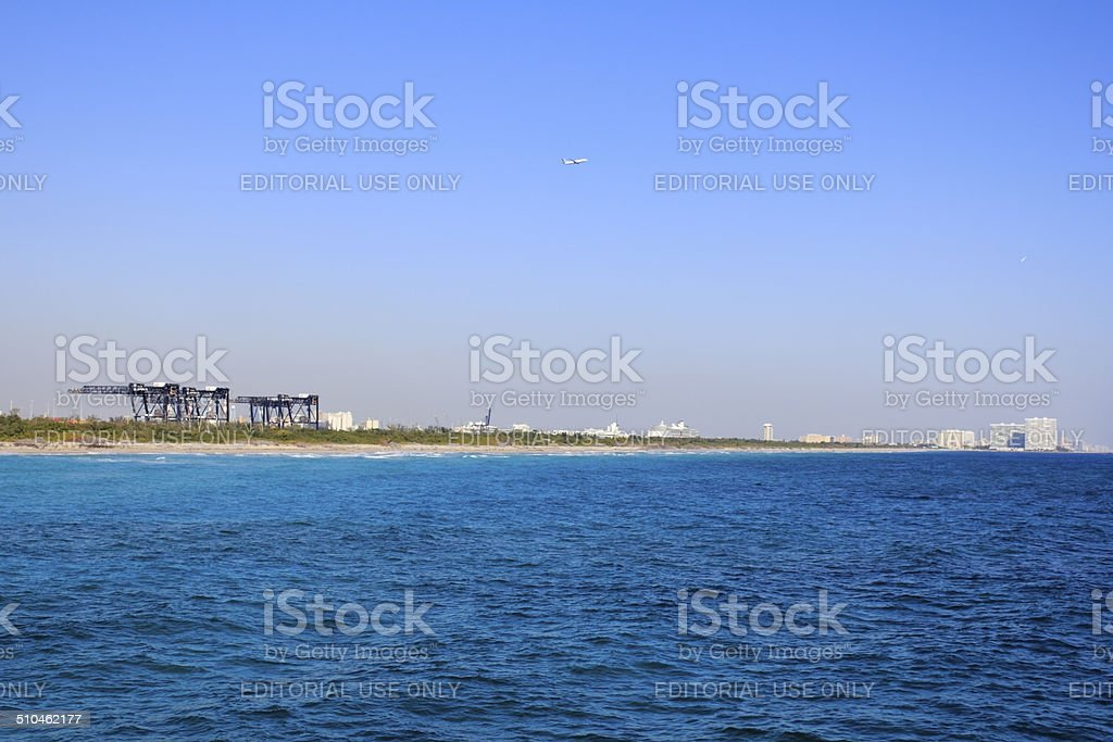 Port Everglades Seen from Dania Beach stock photo