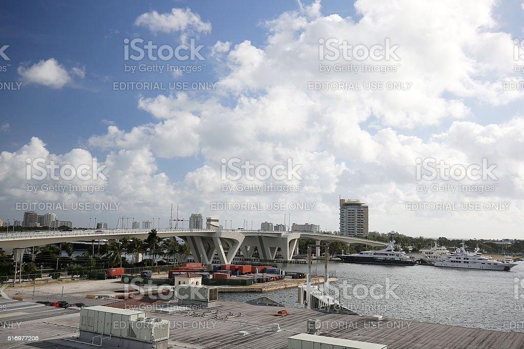 Port Everglades skyline and the 17th Street Causeway Bridge stock photo