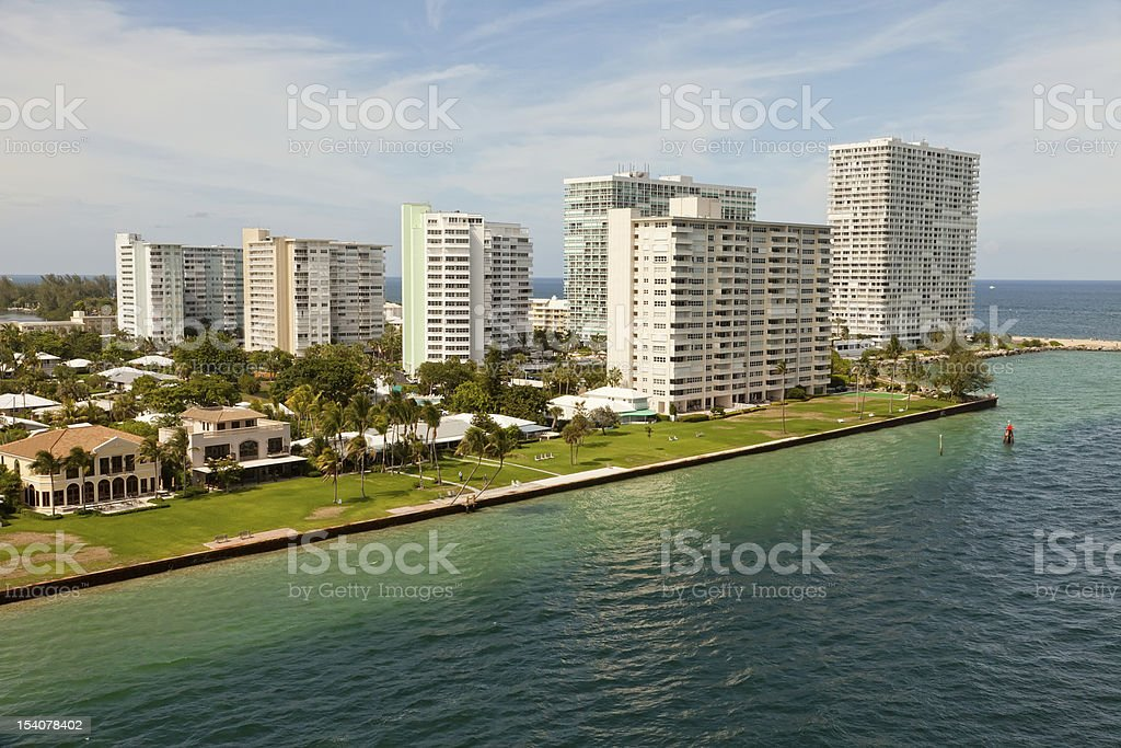 Port Everglades Water Inlet to Atlantic Ocean stock photo