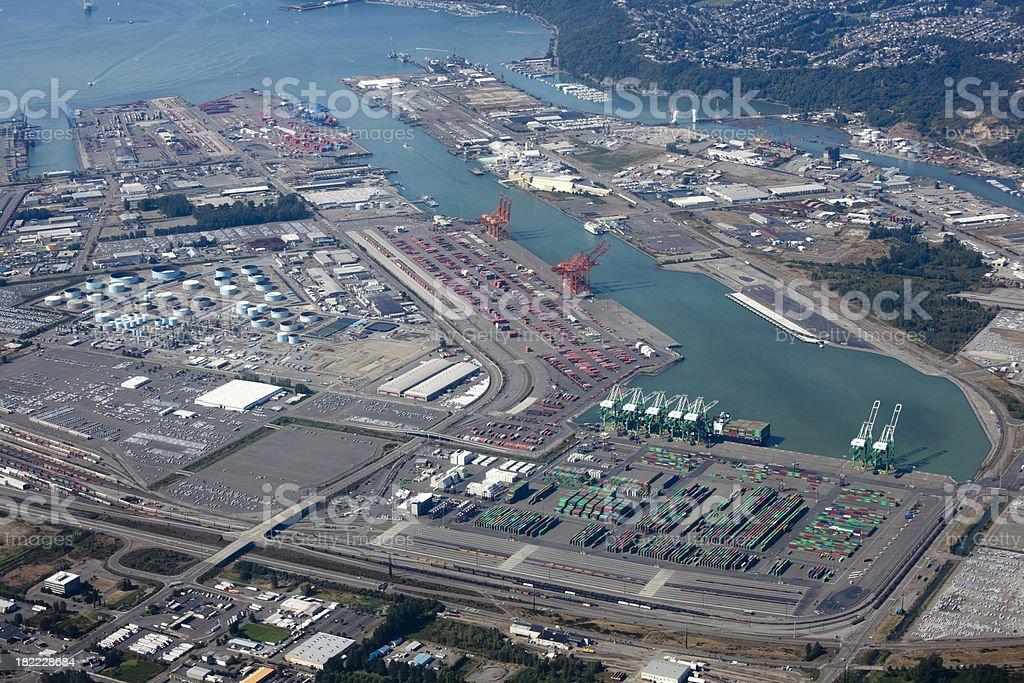 Port Freight Transportation, Aerial View Tacoma Washington USA stock photo