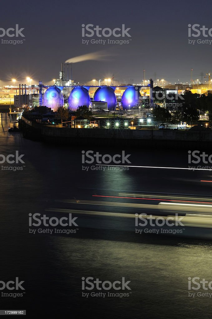 port hamburg at night, ship motion blur royalty-free stock photo