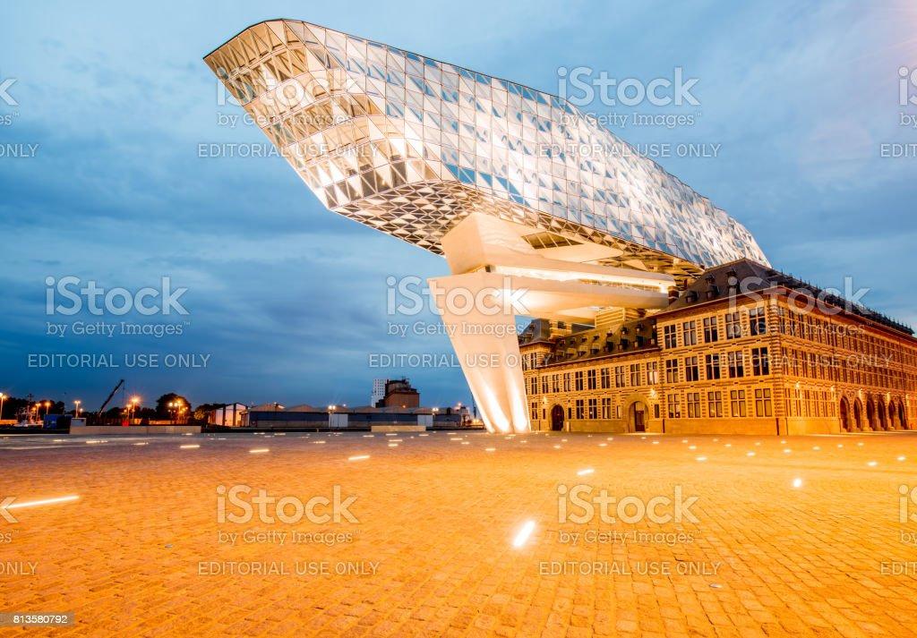 Port house in Antwerpen stock photo