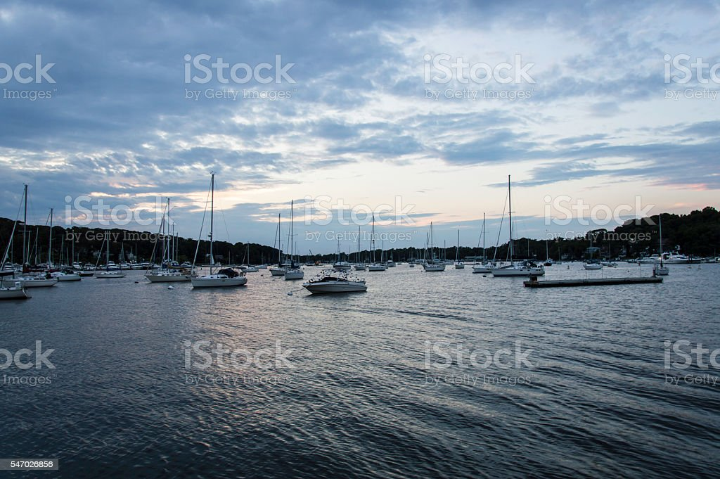 Port Huntington,  Harbour in Long Island stock photo