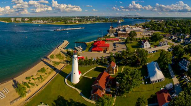Port Huron & Fort Gratiot Lighthouse Aerial,Michigan stock photo