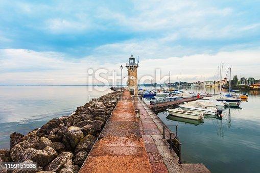 Desenzano del Garda port. Desenzano is a town on the shore of Lake Garda in the Brescia province in Lombardy, Italy.