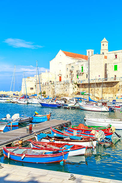 port in giovinazzo near bari, apulia, italy - sizilien strände stock-fotos und bilder