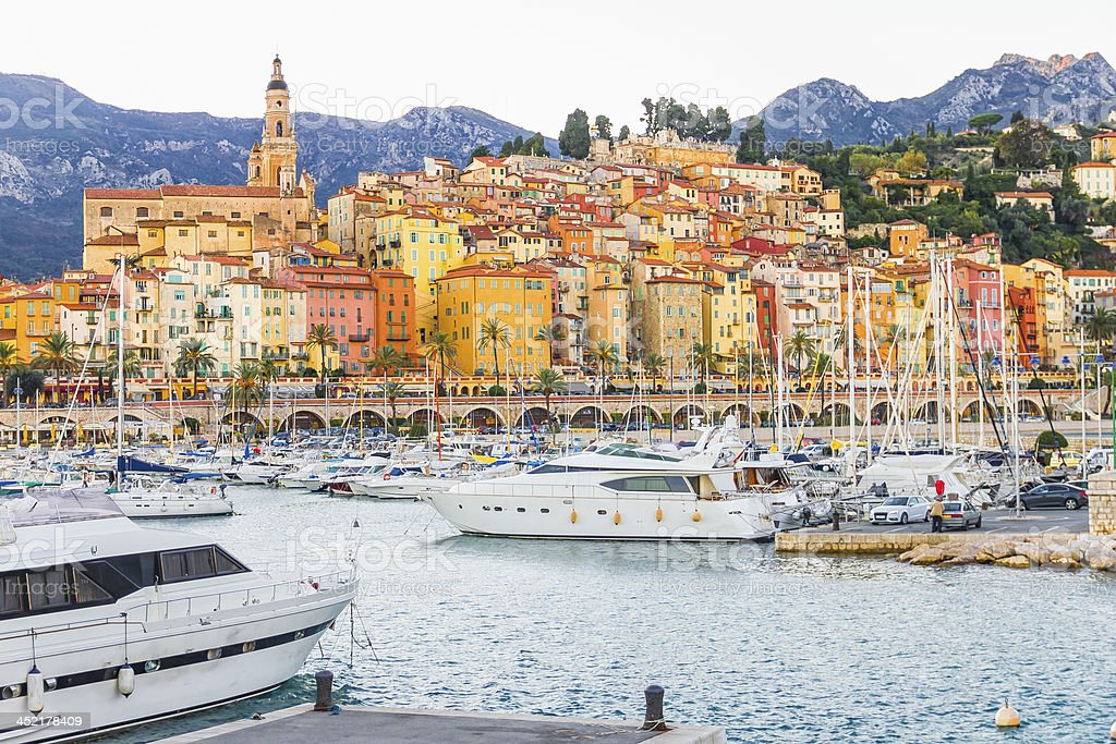 Port in Menton, France stock photo
