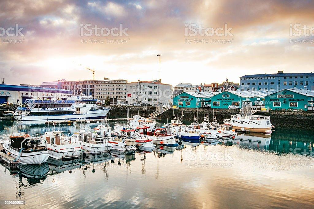 Port in Reykjavik, Iceland on sunny autumn day stock photo