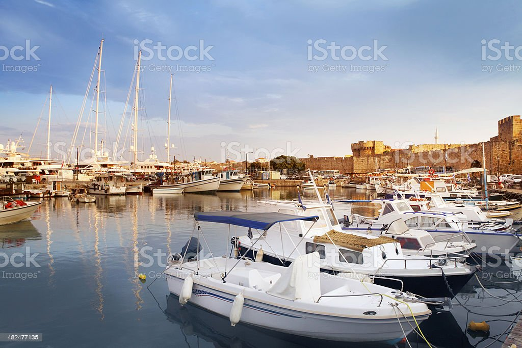 Port in Rhodes stock photo